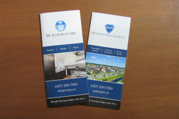 Recently Completed: Clear Builders Corp. & Pure Property Management Trifold Brochures