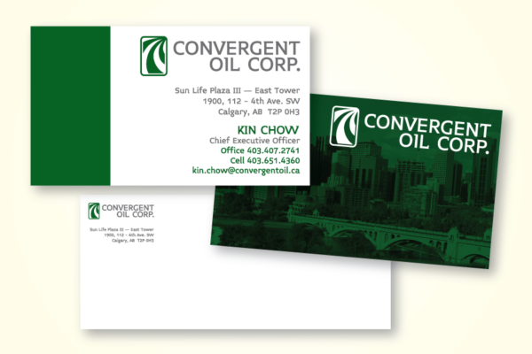 Recently Completed: Convergent Oil Corp. Business Card & Envelopes