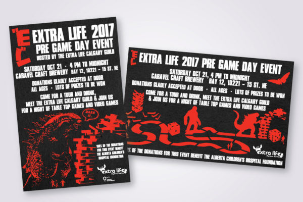 Recently Completed: Extra Life (Calgary Guild) 2017 Event Posters