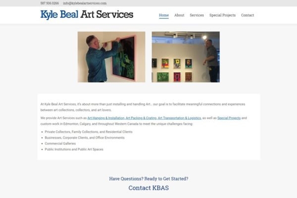 Recently Completed: Kyle Beal Art Services Website