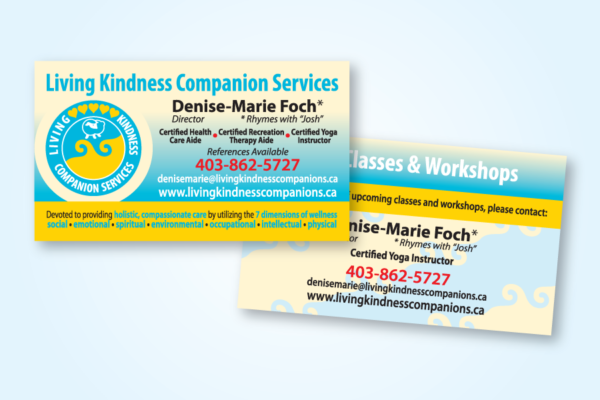 Recently Completed: Living Kindness Companion Services Logo and Business Card