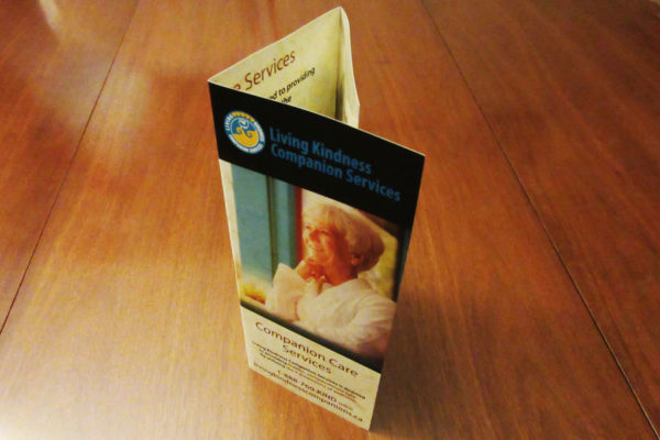 Recently Completed: Living Kindness Companion Services Trifold Brochure