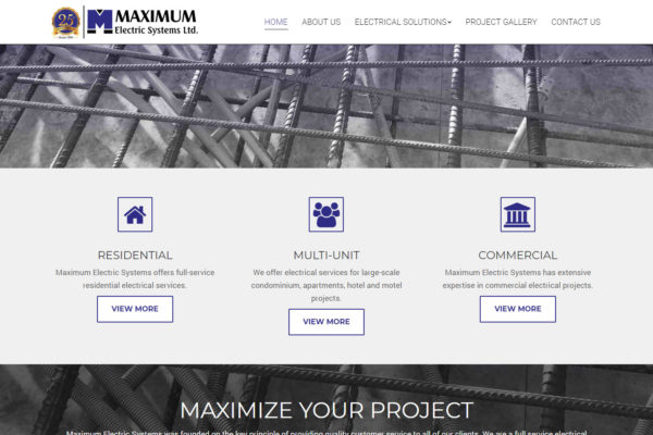 Recently Completed: Maximum Electric Systems Website