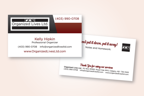 Recently Completed: Organized Lives Business Card