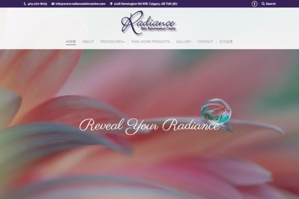 Recently Completed: Radiance Skin Rejuvenation Centre Website
