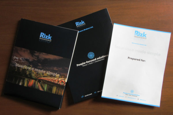 Recently Completed: Rizk Insurance Presentation Folders and Cover Sheet