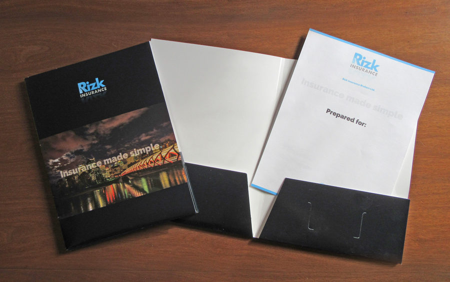 recently completed rizk insurance presentation folders and cover