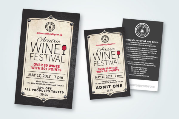 "Recently Completed: Sierra Springs Liquor ""Airdrie Wine Festival"" Advertisement and Tickets"