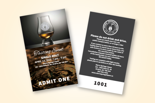 Recently Completed: Sierra Springs Liquor Tasting Event Ticket