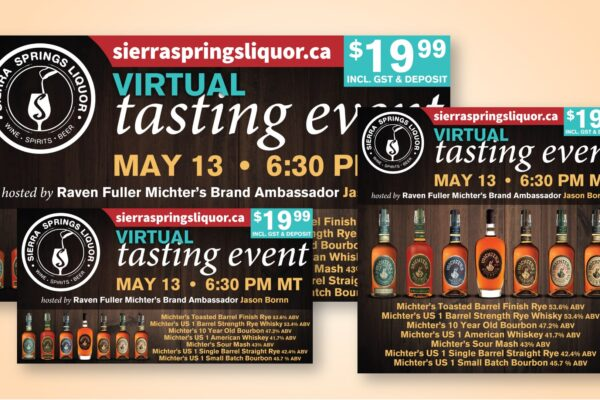 Recently Completed: Sierra Springs Liquor Virtual Tasting Event Social Media Images (May 2021)
