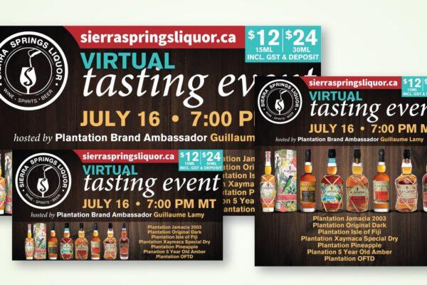 Recently Completed: Sierra Springs Liquor Virtual Tasting Event Social Media Images (June 2021)
