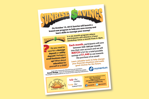"Recently Completed: Sunrise Community Link ""Sunrise $avings"" Poster"