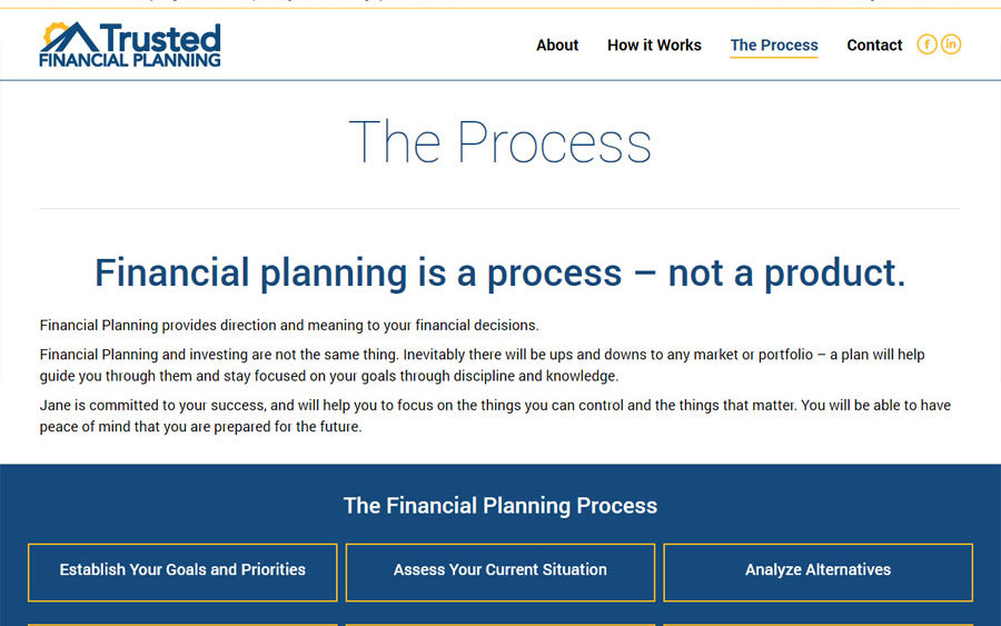 Recently Completed Trusted Financial Planning Website Electris Design