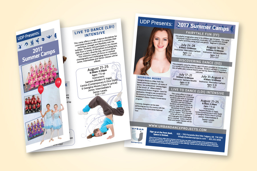 recently completed urban dance projects poster and trifold brochure