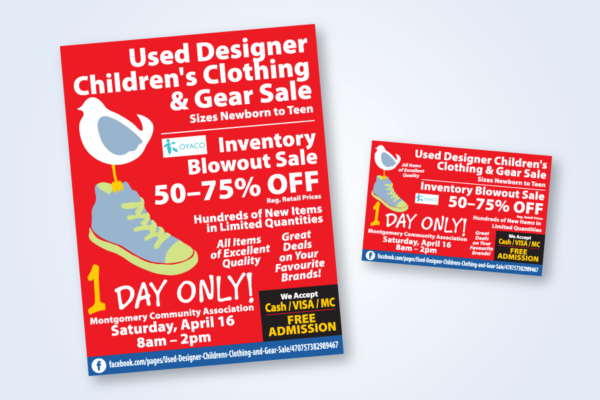 Recently Completed: Used Designer Children's Clothing & Gear Sale Poster and Postcard