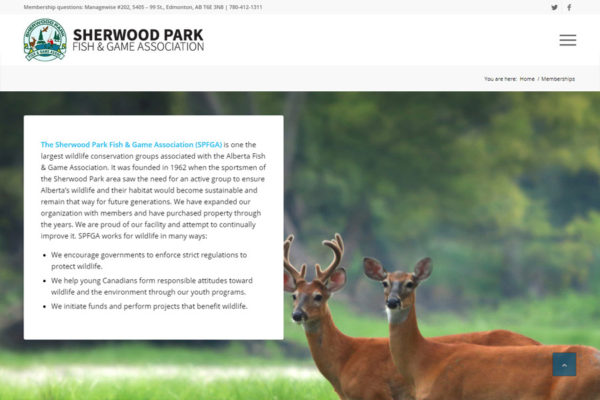 Recently Completed: Sherwood Park Fish & Game Association Website