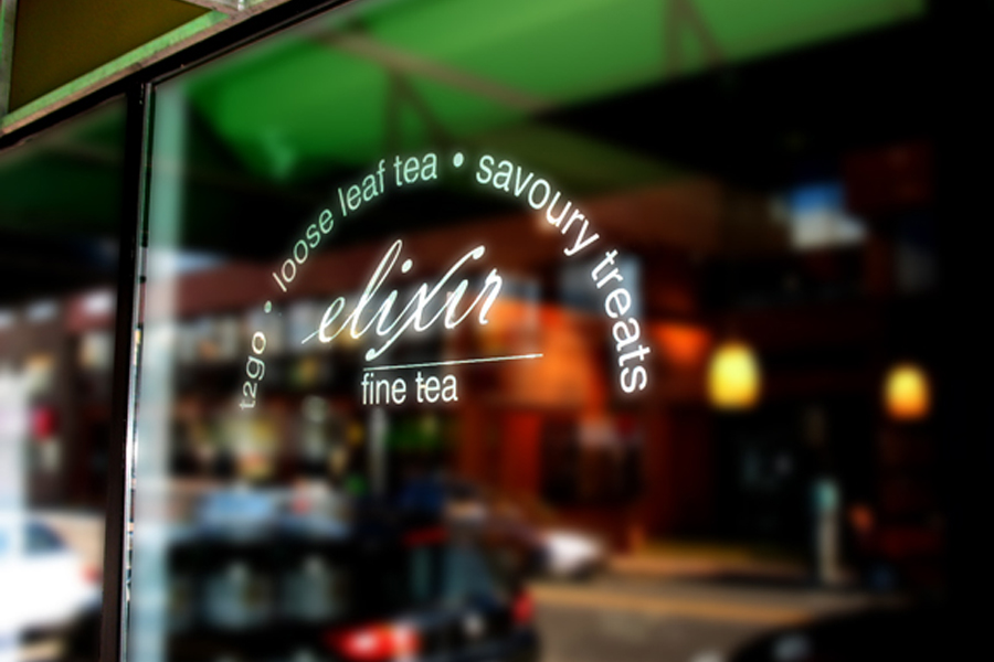 Elixir Fine Tea window decals